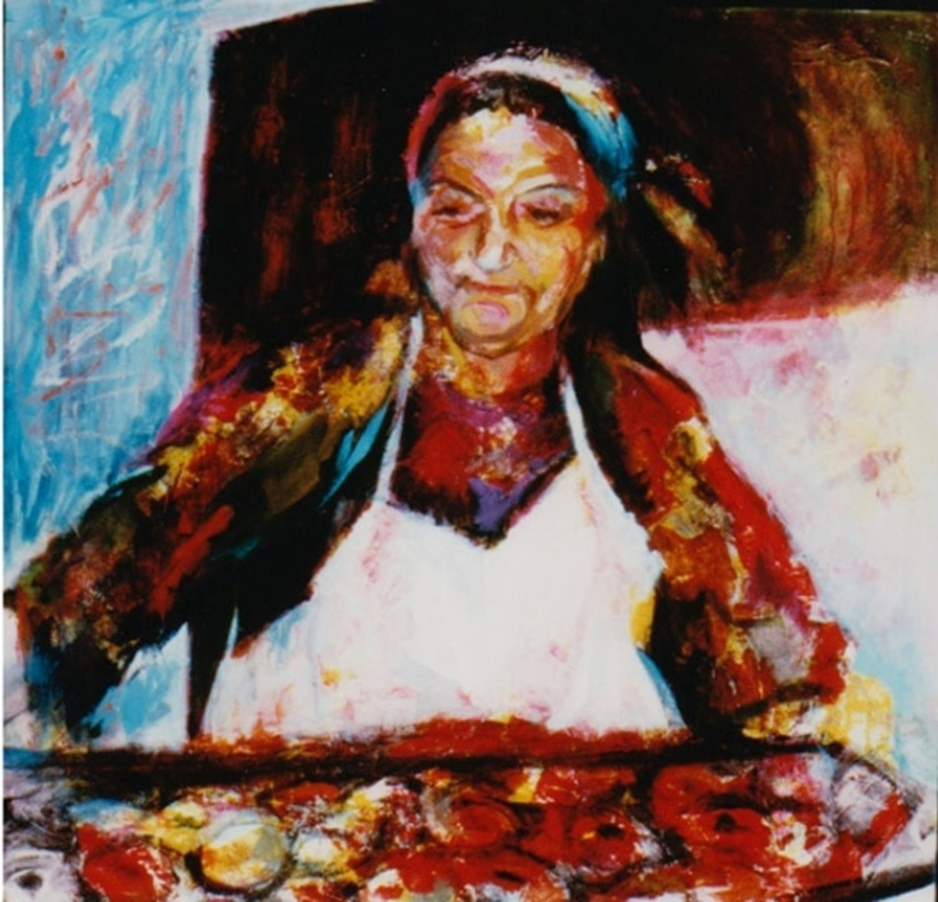 The Baker of Rhodes, original Portrait Acrylic Painting by Connie Freid