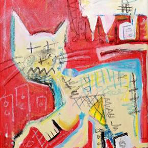 Crazy cat, Pintura Acrílico Abstrato original por Flavio Man