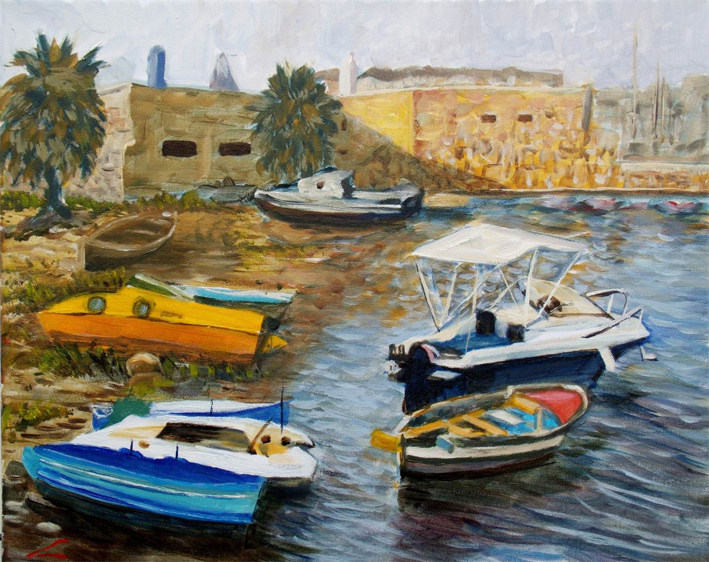 Boats haven, original Landscape Oil Painting by Elena Sokolova