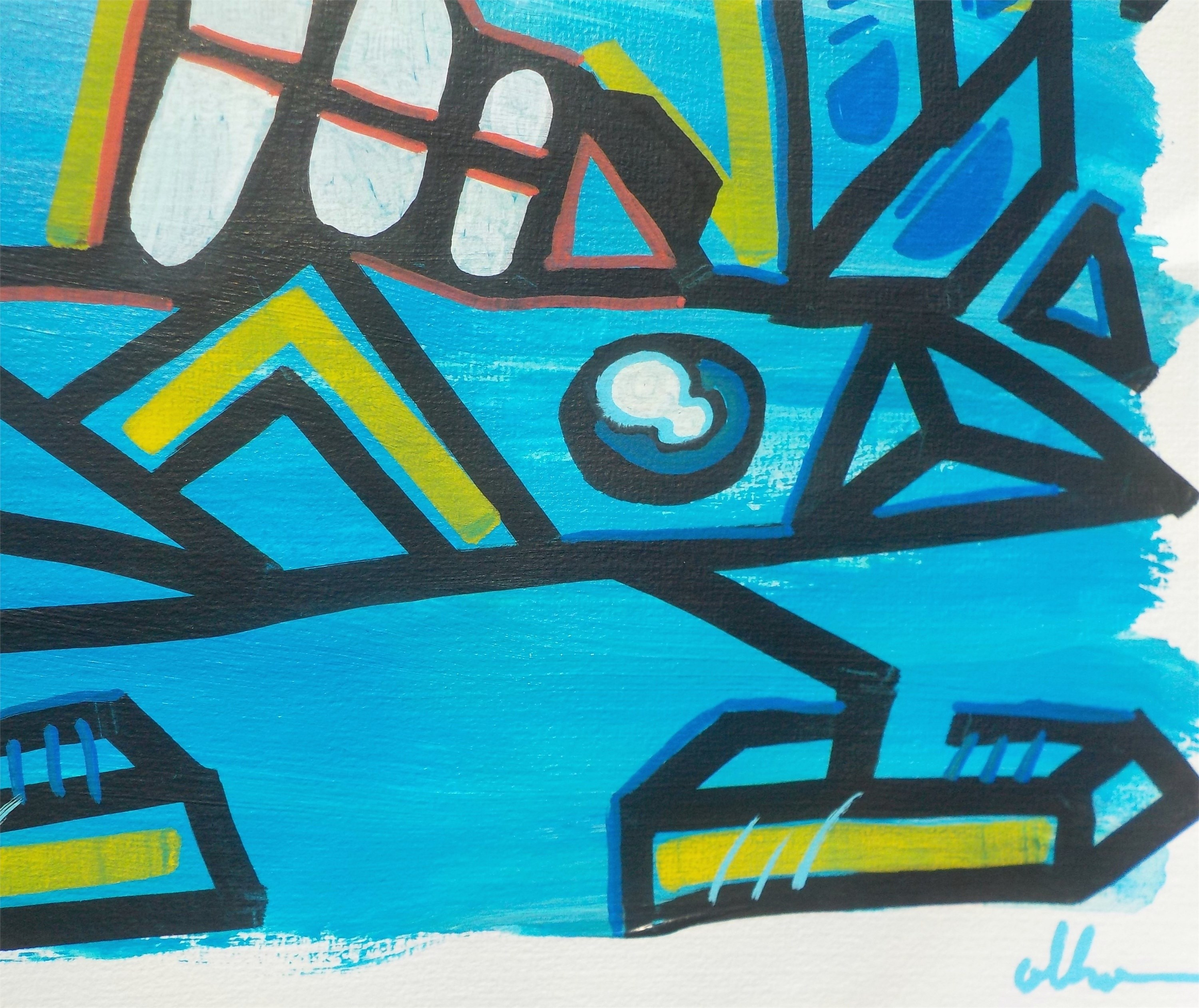 Big Foot Like a bIRD, original Abstract Acrylic Painting by OLHO OLHO