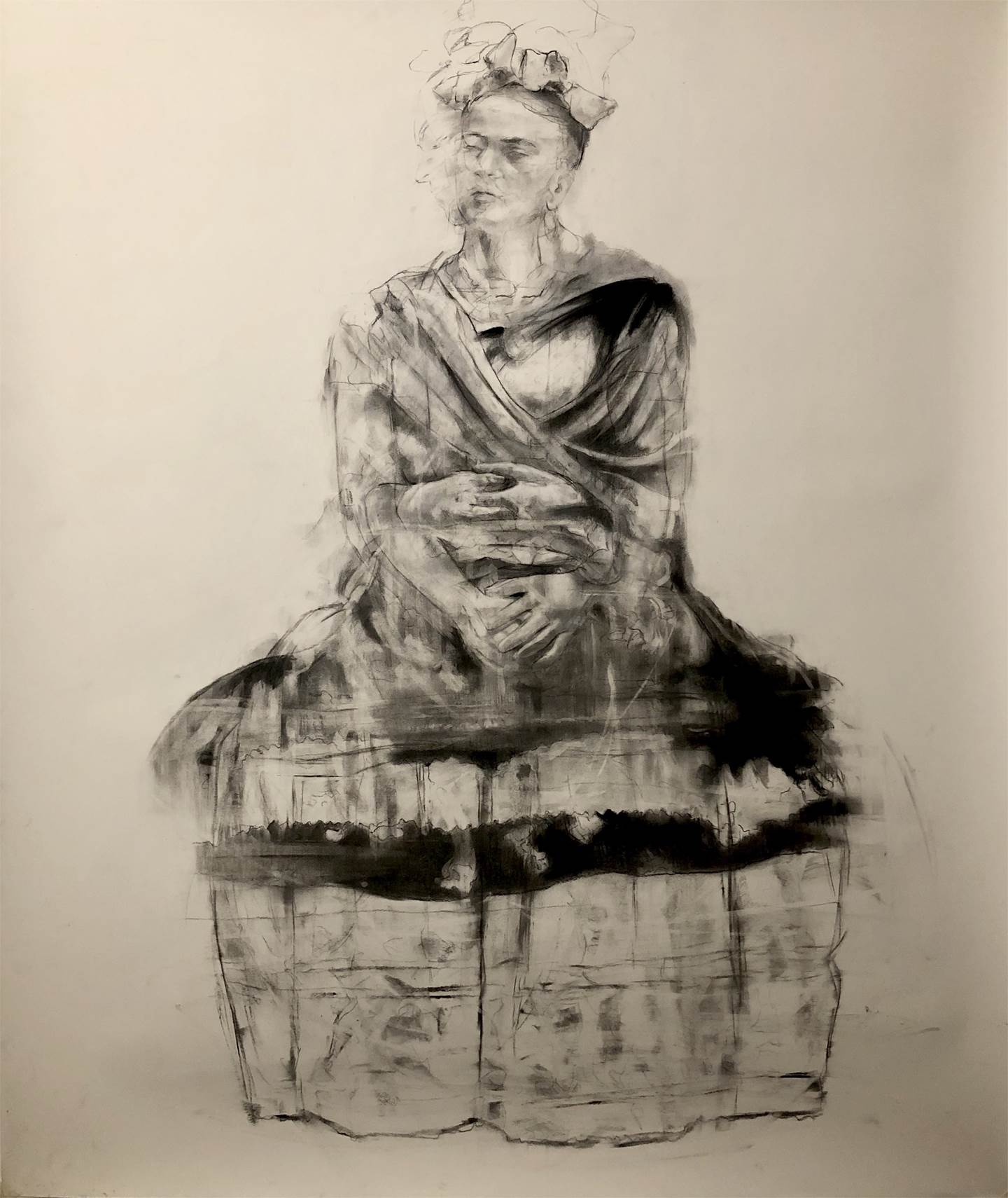 Everybody Loves Frida, original B&W Charcoal Drawing and Illustration by Juan Domingues