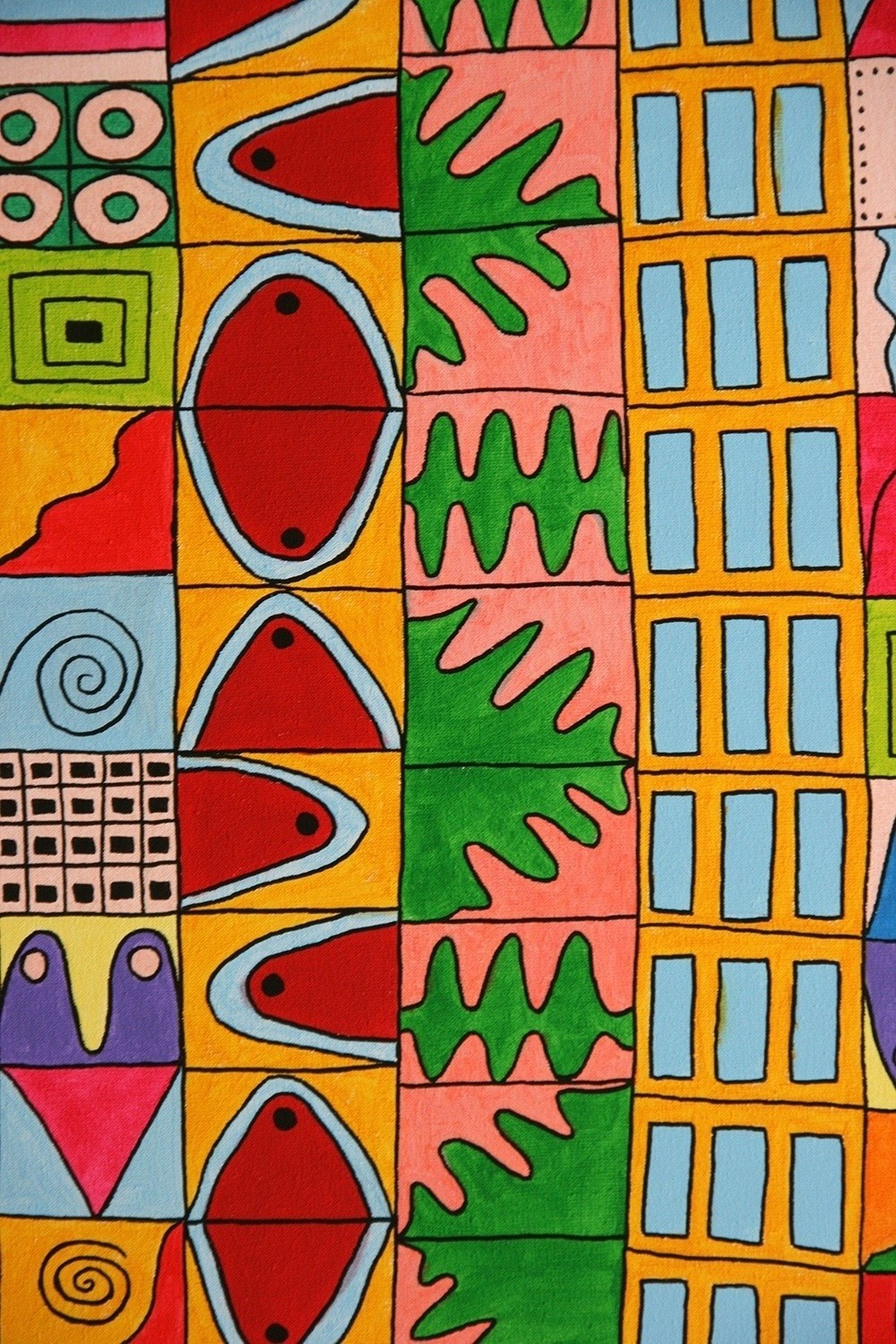 Buildings and stories 3, original Abstract Acrylic Painting by Inês Peres