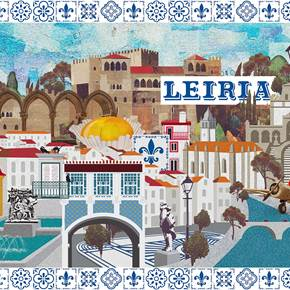 Leiria (Tela), original Architecture Canvas Drawing and Illustration by Maria João Faustino