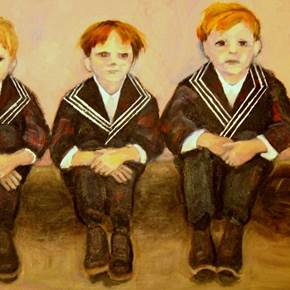 Choirboys, original Human Figure Acrylic Painting by Connie Freid