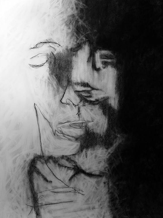 Auto-Retrato Táctil II, original Big Charcoal Drawing and Illustration by Mariana Alves