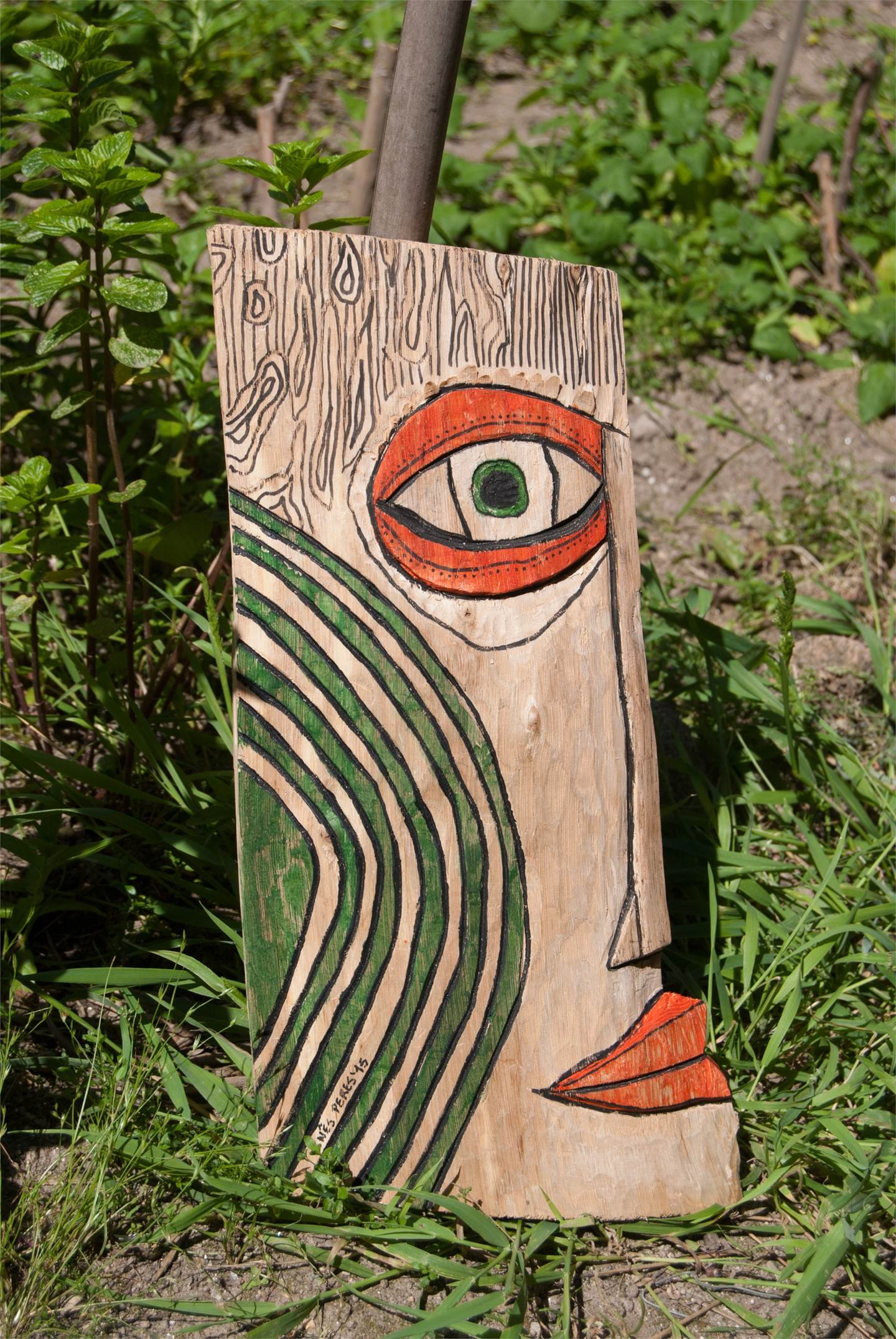 Wood mask 2, original Abstract Mixed Technique Sculpture by Inês Peres