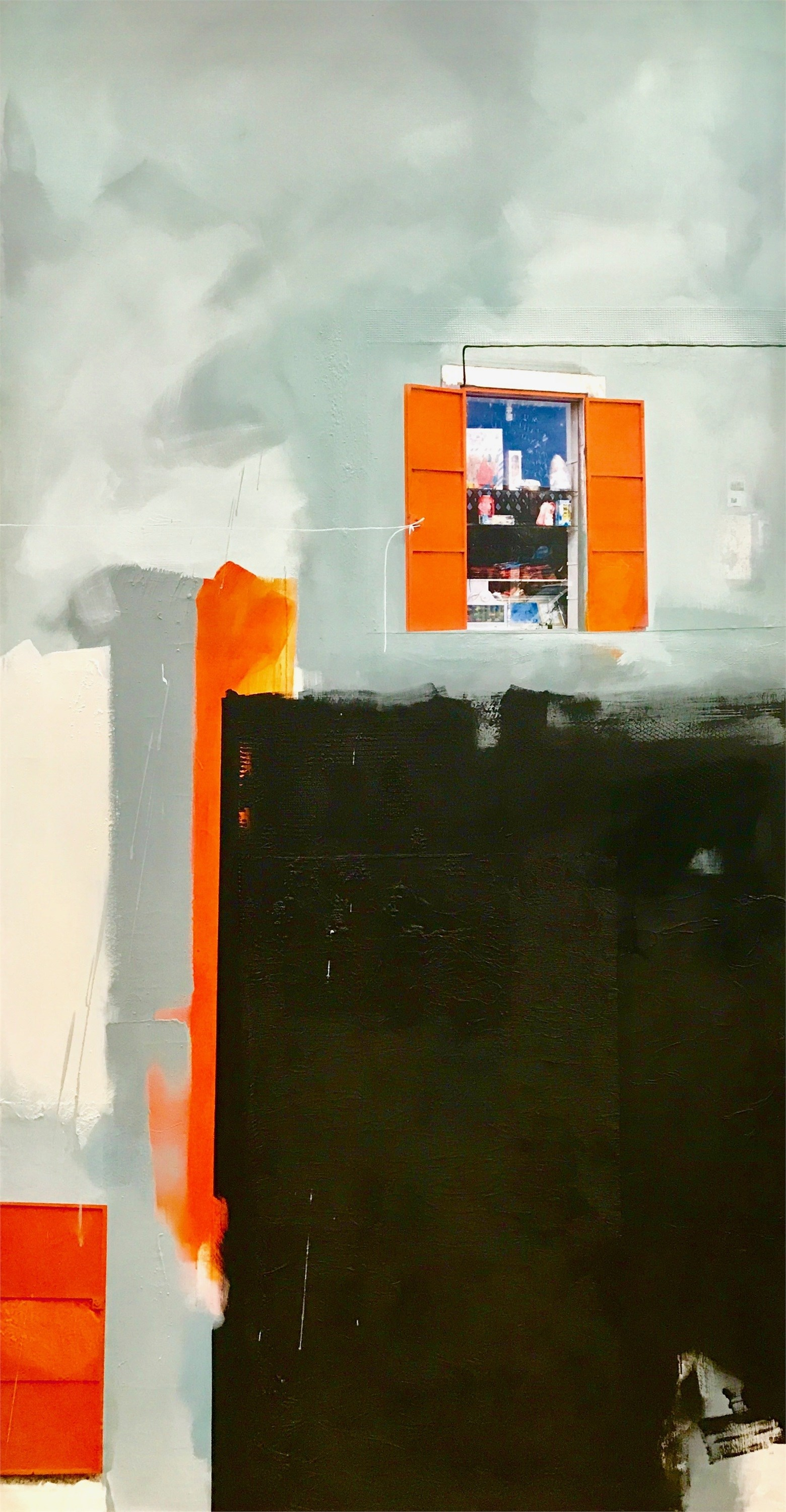 The Chinese Store, original Abstract Mixed Technique Painting by Ana Bonifácio