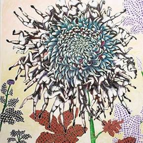 Blue Chrysanthemum, original Big Mixed Technique Painting by Clara Martins
