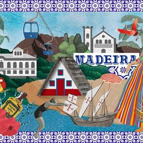 Madeira (Tela), original Landscape Canvas Drawing and Illustration by Maria João Faustino