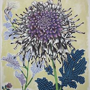 Purple Chrysanthemum, original Big Mixed Technique Painting by Clara Martins