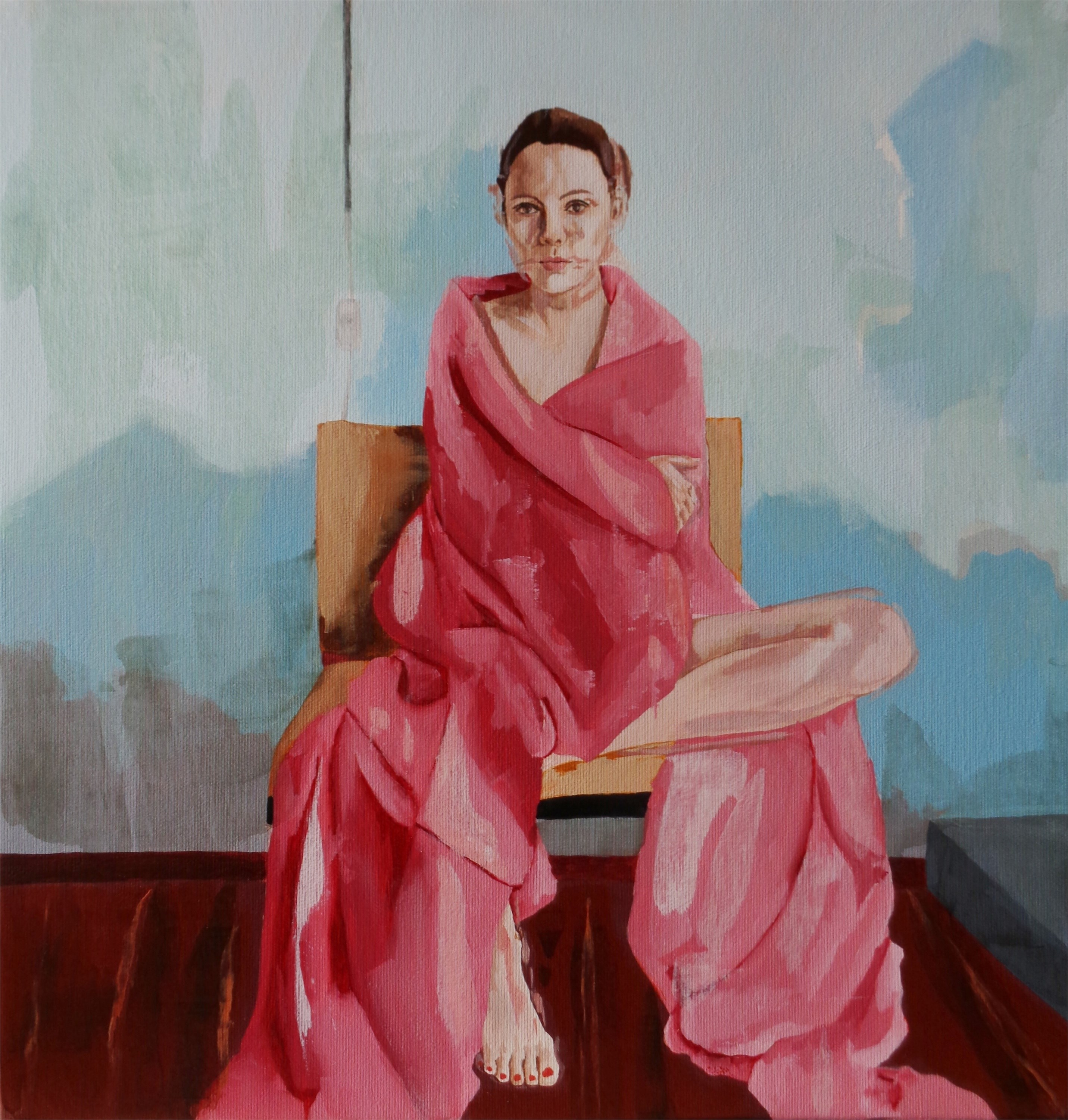 Red bathrobe, original Abstract Oil Painting by João Teixeira