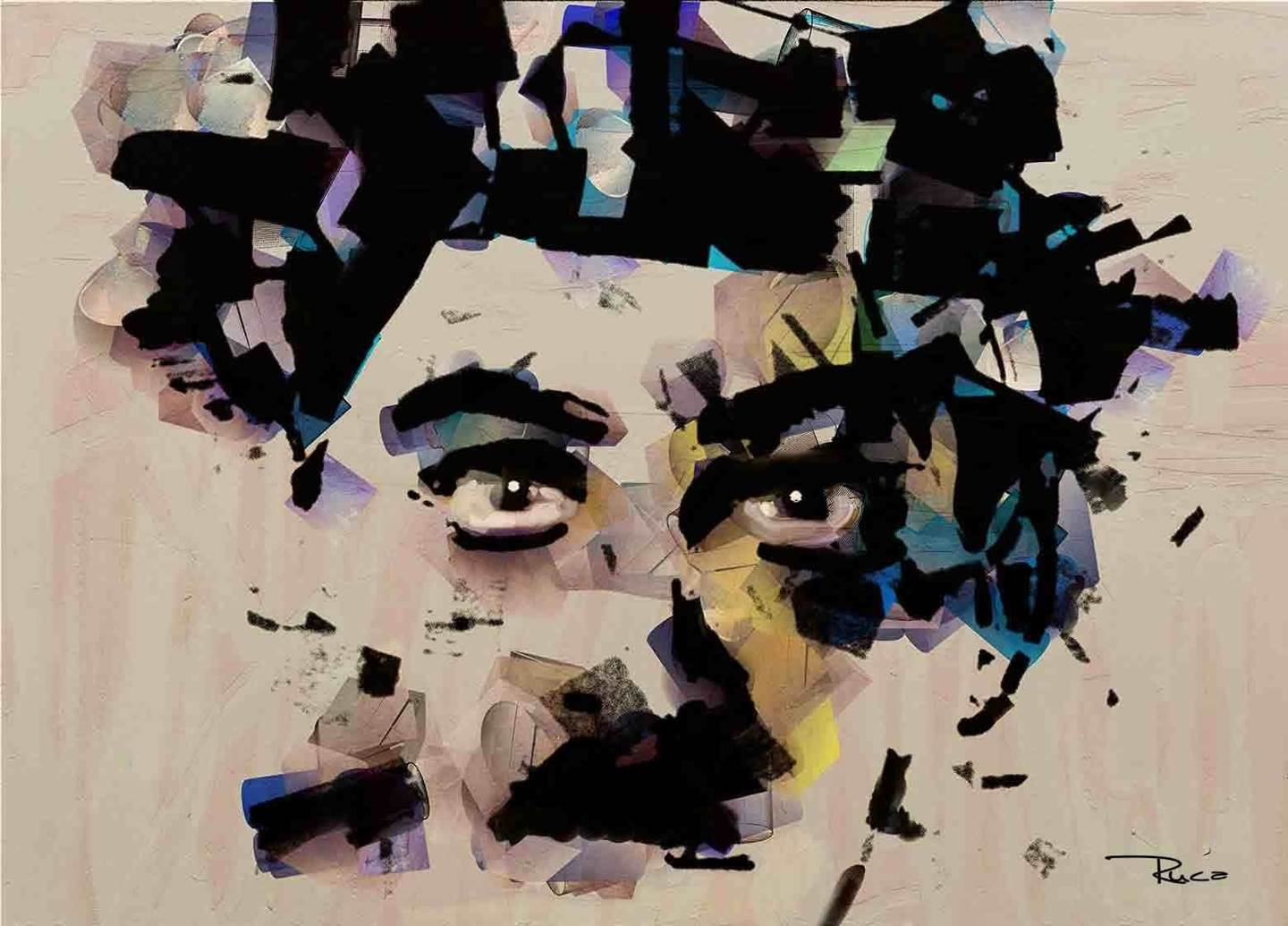 Charlie Chaplin, original Abstract Mixed Technique Painting by Rui Mendes (Ruca)