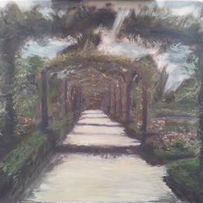 El Retiro, original Landscape Canvas Painting by Alma Seroussi
