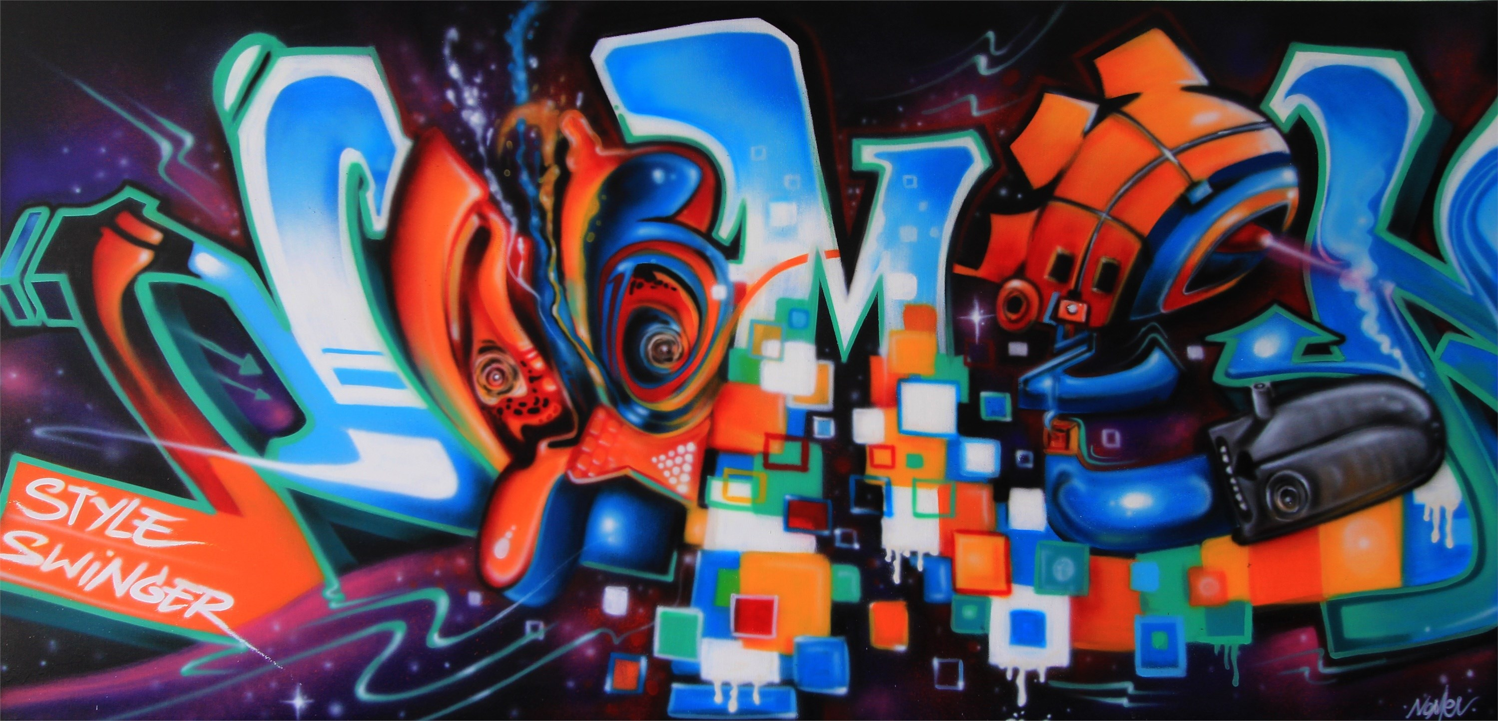 Style Swinger, original Abstract Graffiti Painting by Nomen Nuno