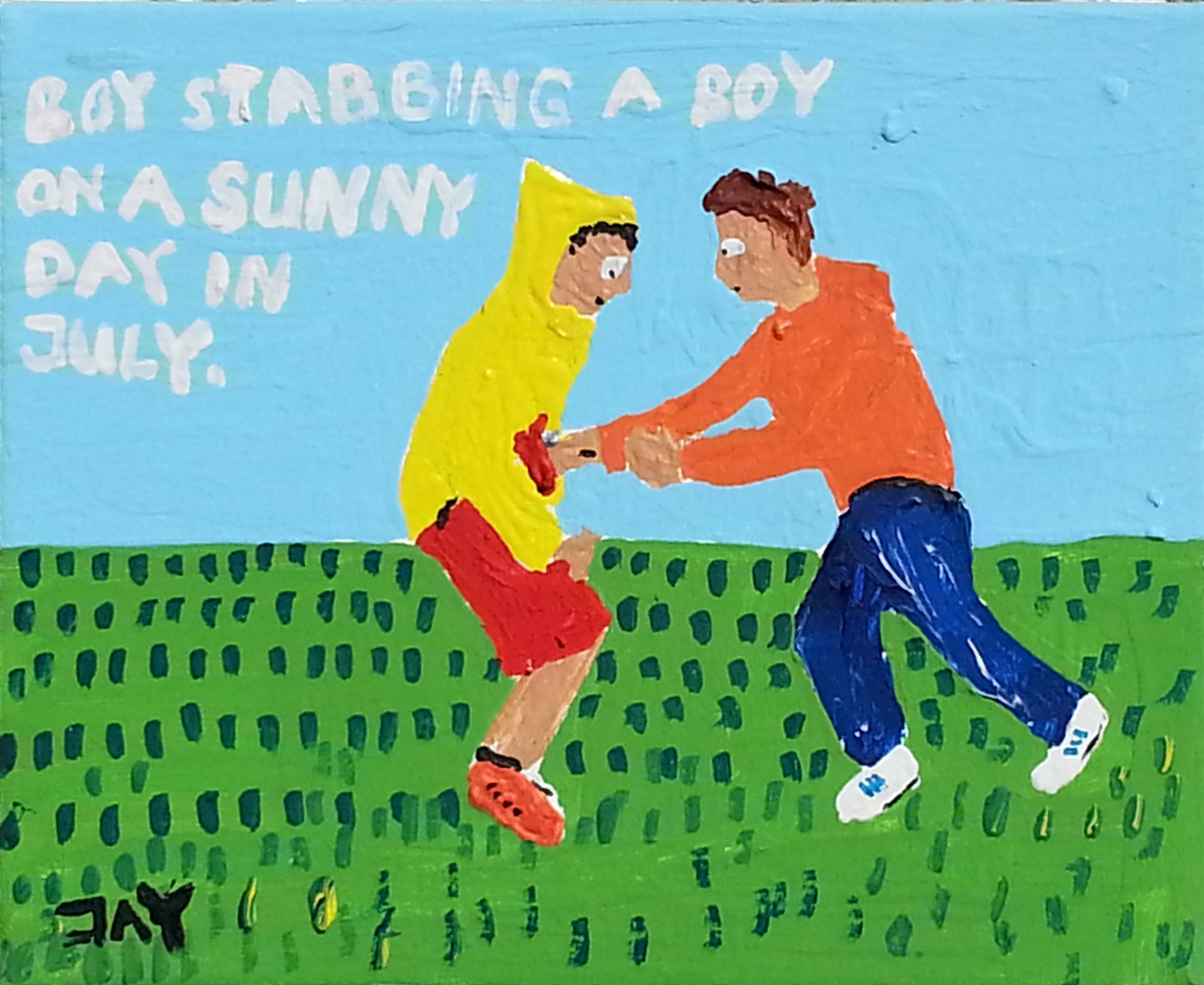 Bad Painting number 05: Boy stabbing a boy on a sunny day in July, original Human Figure Acrylic Painting by Jay Rechsteiner