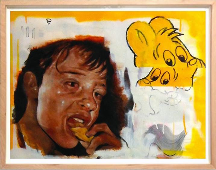 Yellow Cookie, original Animals Acrylic Painting by David Rosado