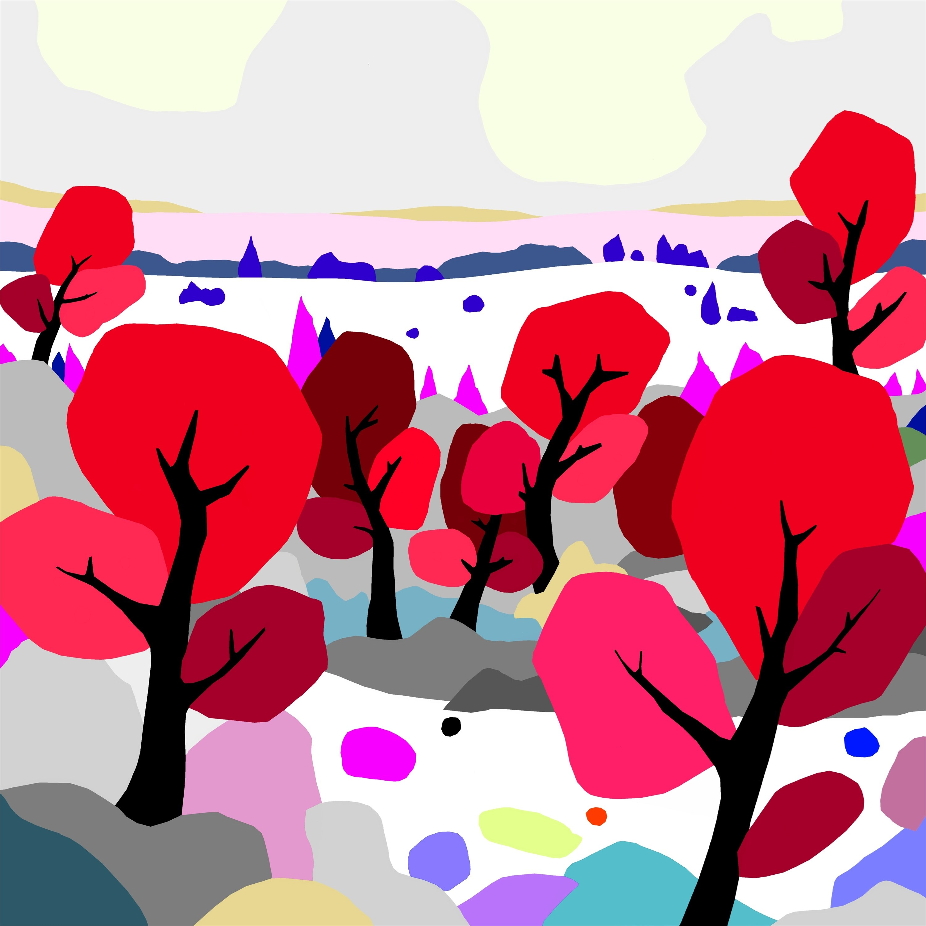 Red trees (árboles rojos), original Nature Digital Drawing and Illustration by Alejos Lorenzo Vergara