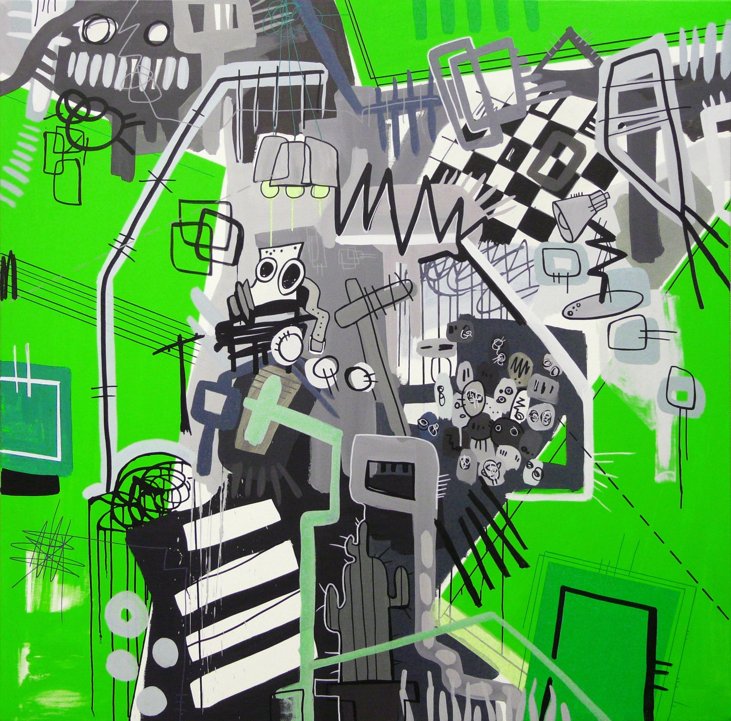 Verde paradoja un tanto gris I, original Abstract Mixed Technique Painting by RAFA LÓPEZ