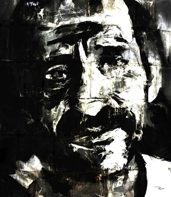 Old Sad Eyes, original B&W Canvas Painting by Rui Mendes (Ruca)