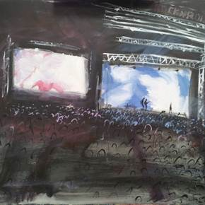 Pixies' Show 2014, original Places Acrylic Painting by Alma Seroussi