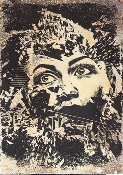 Atrito, original Portrait Silkscreen Drawing and Illustration by Vhils (Alexandre Farto)