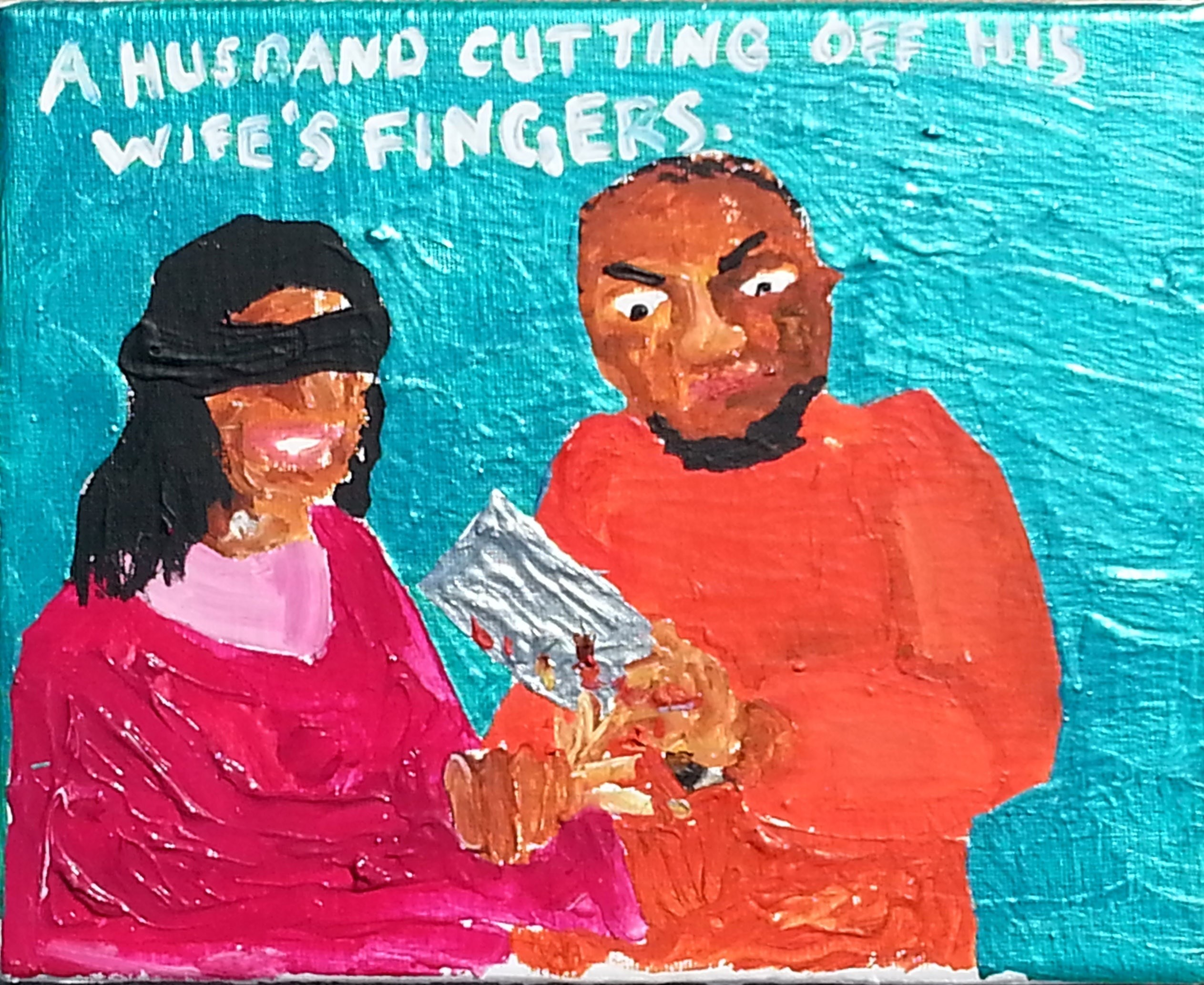 A husband cutting off his wife's fingers, Pintura Acrílico Vanguardia original por Jay Rechsteiner