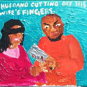 A husband cutting off his wife's fingers, original Avant-Garde Acrylic Painting by Jay Rechsteiner