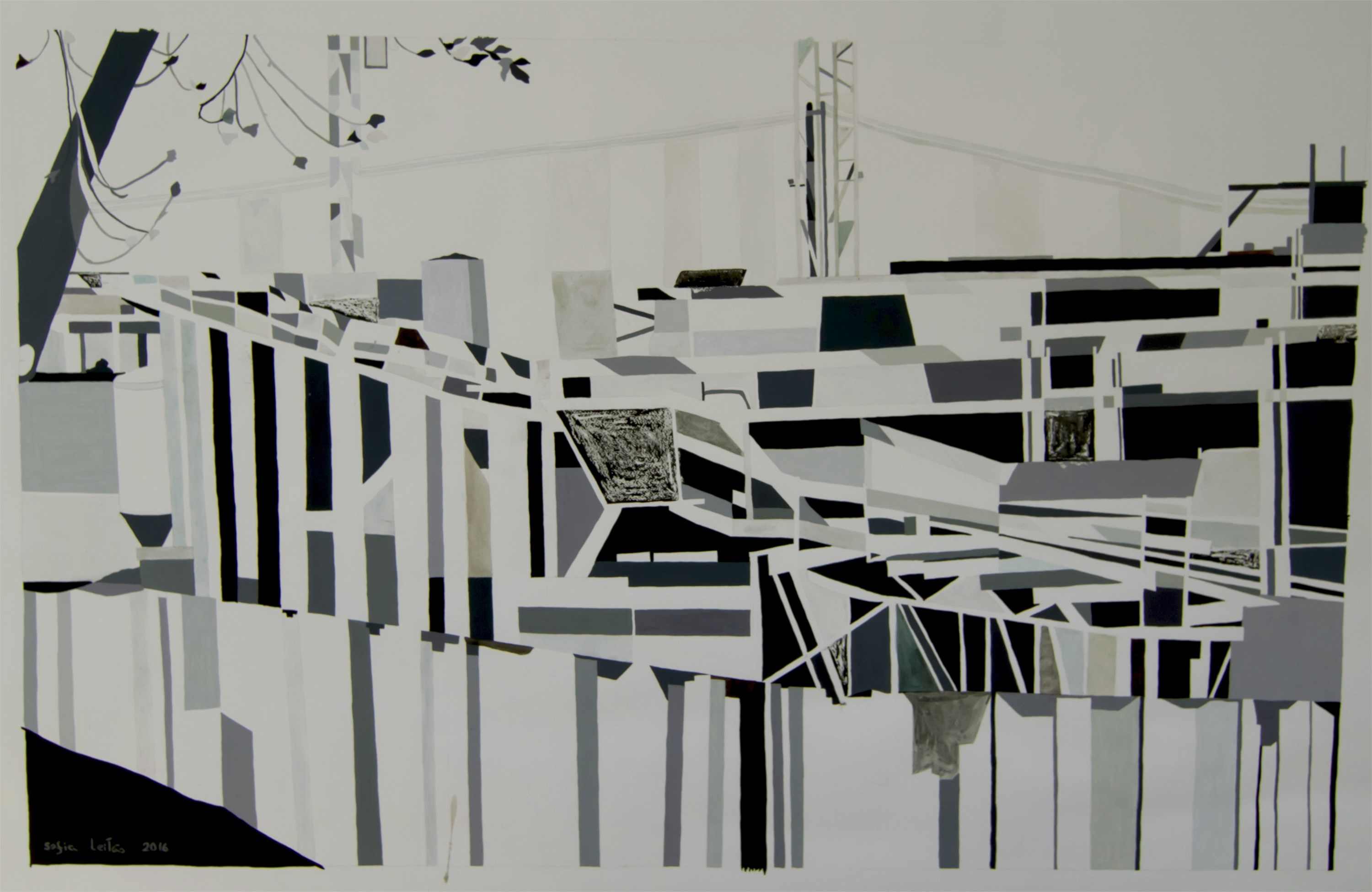Under construction I, original Geometric Mixed Technique Painting by Sofia Leitão & Henry Nesbitt