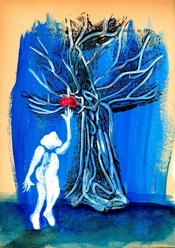 Forbidden Fruit , original Human Figure Acrylic Painting by Mariana Mizarela
