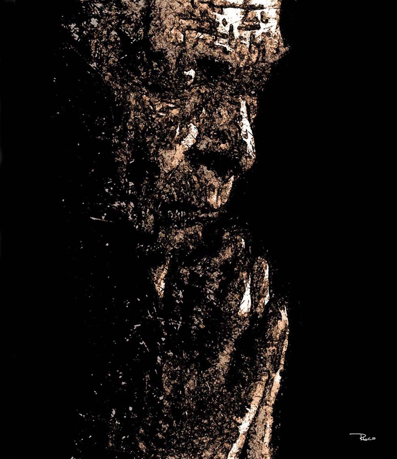 Old Man Praying, original Big Canvas Painting by Rui Mendes (Ruca)