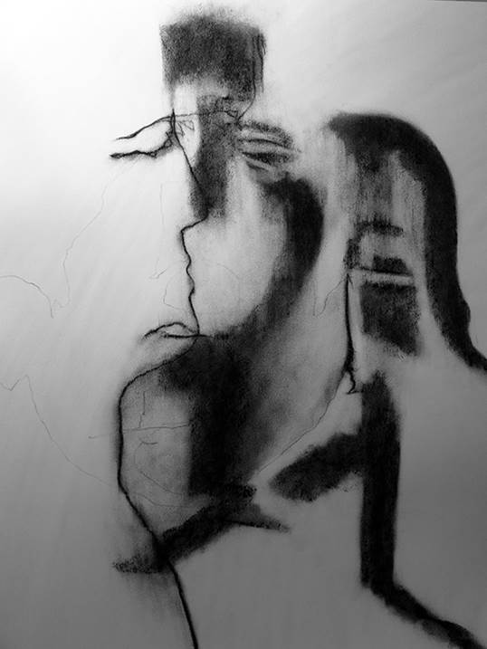 Auto-Retrato Táctil III, original Big Charcoal Drawing and Illustration by Mariana Alves