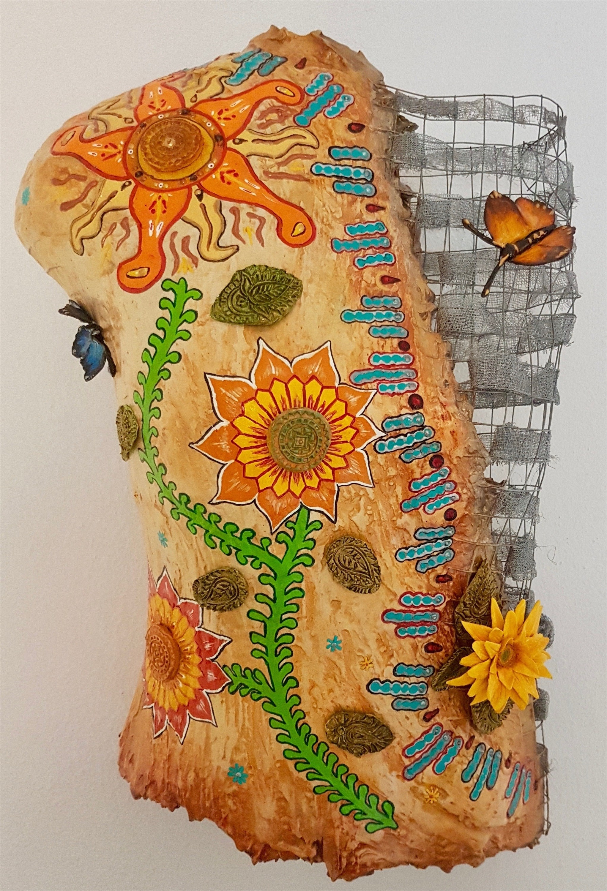 Sunflowers & Butterflies, original Abstract Clay Sculpture by Andrea Pinto (Art Sauvage)