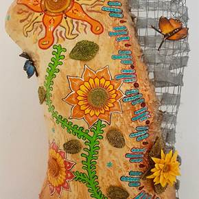 Sunflowers & Butterflies, original Abstract Clay Sculpture by Art Sauvage
