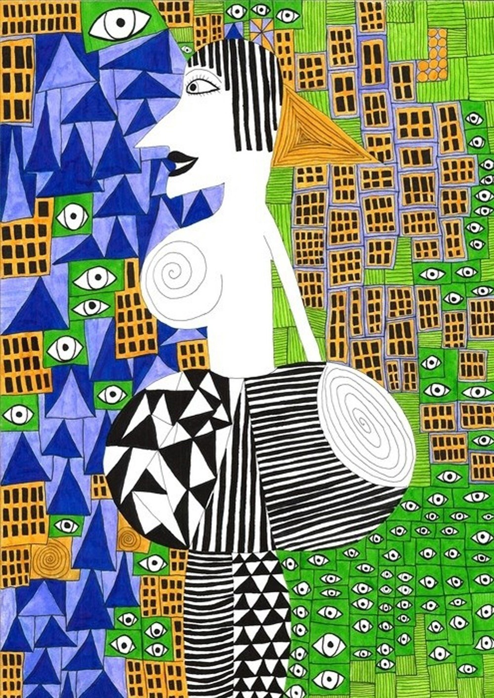 City Woman, original Abstract Aquatint Drawing and Illustration by Inês Peres