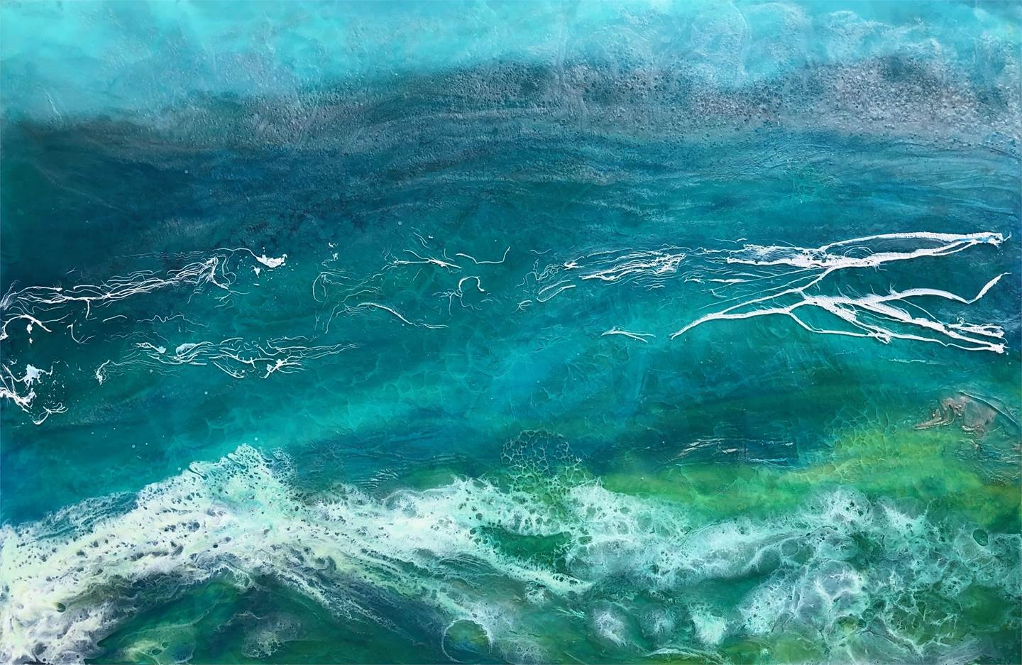 Sea Swells, original Landscape Mixed Technique Painting by Tiffani Buteau
