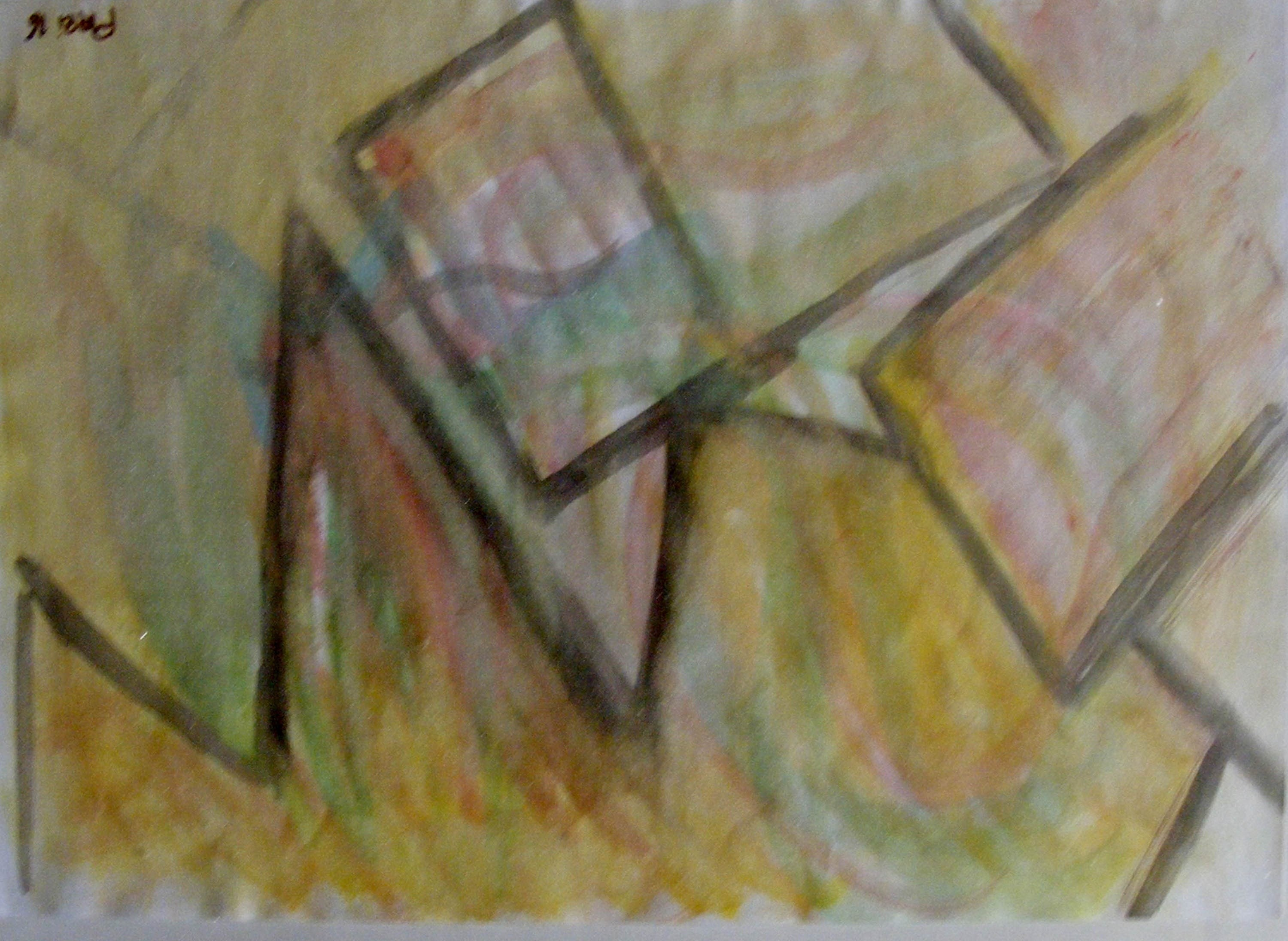 Arquitectura, original Abstract Watercolor Painting by Celso  Prei
