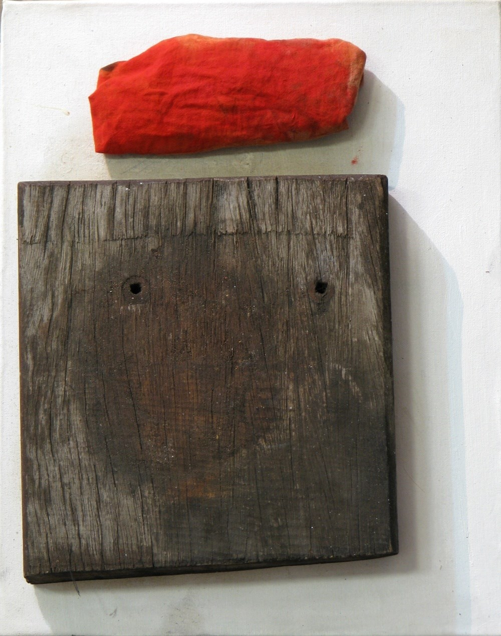 Wood and fabric composition, original Abstract Canvas Painting by Álvaro Marzán