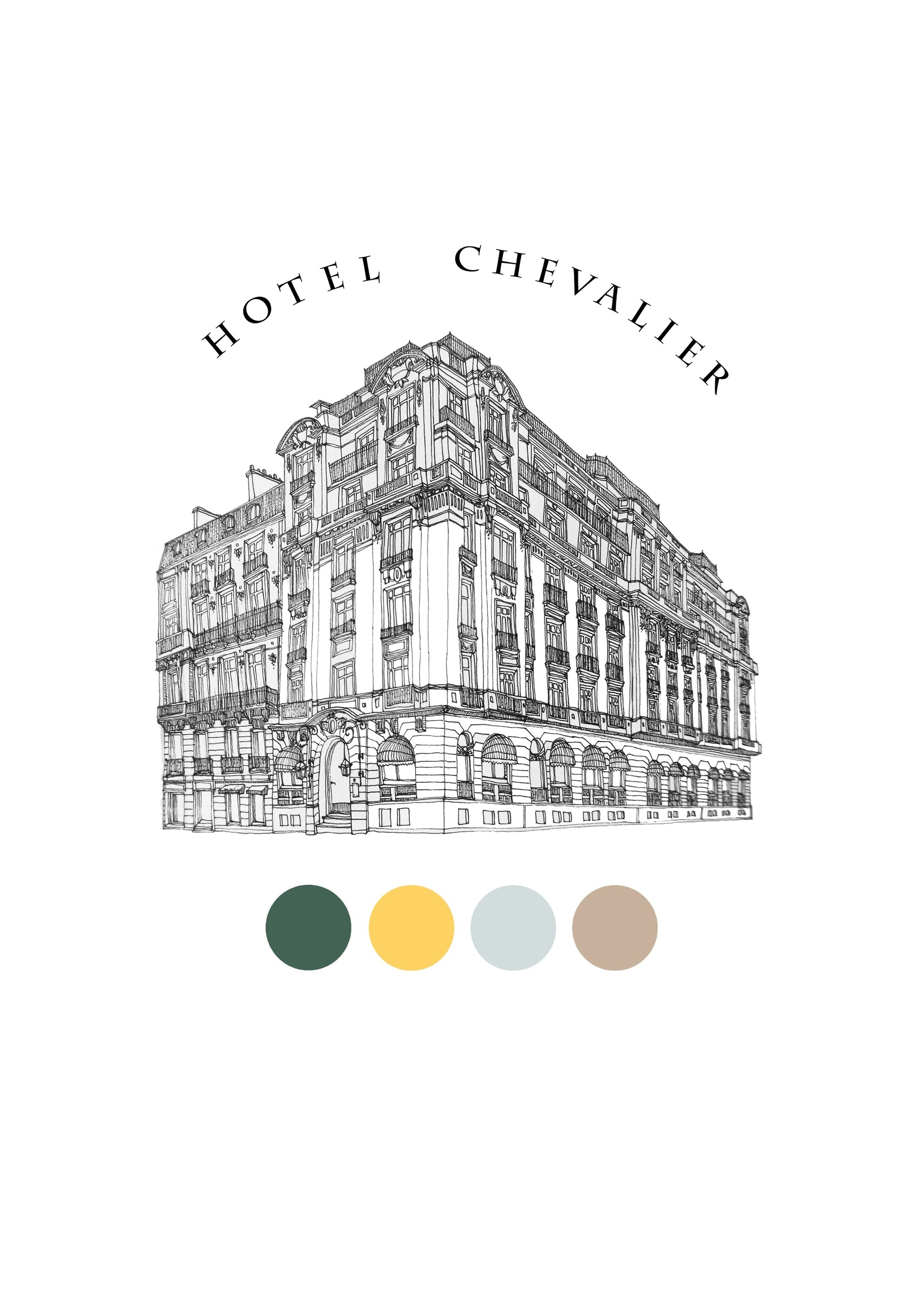 Hotel Chevalier, original Places Pen Drawing and Illustration by Florisa Novo Rodrigues