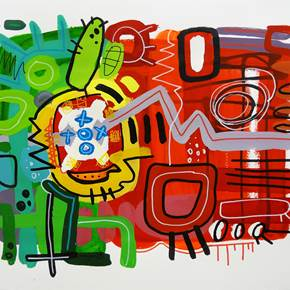 Portuguese homeworks II, original Abstract Mixed Technique Painting by Rafa López