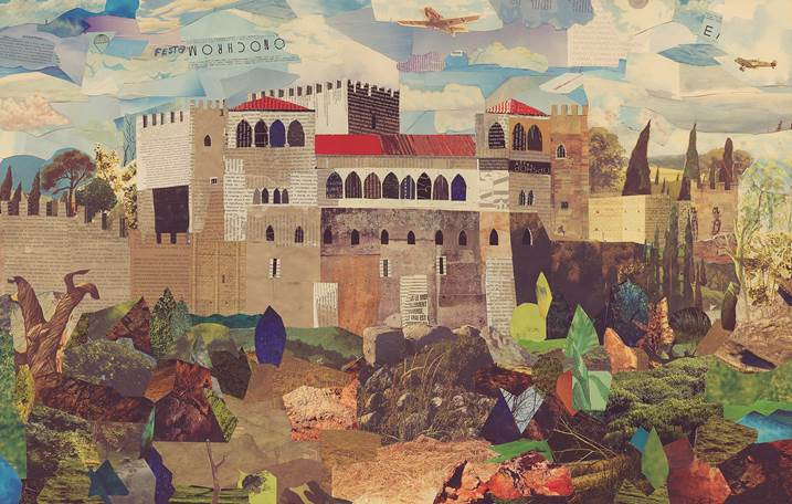 Entre muralhas (Castelo de Leiria), original Architecture Canvas Drawing and Illustration by Maria João Faustino