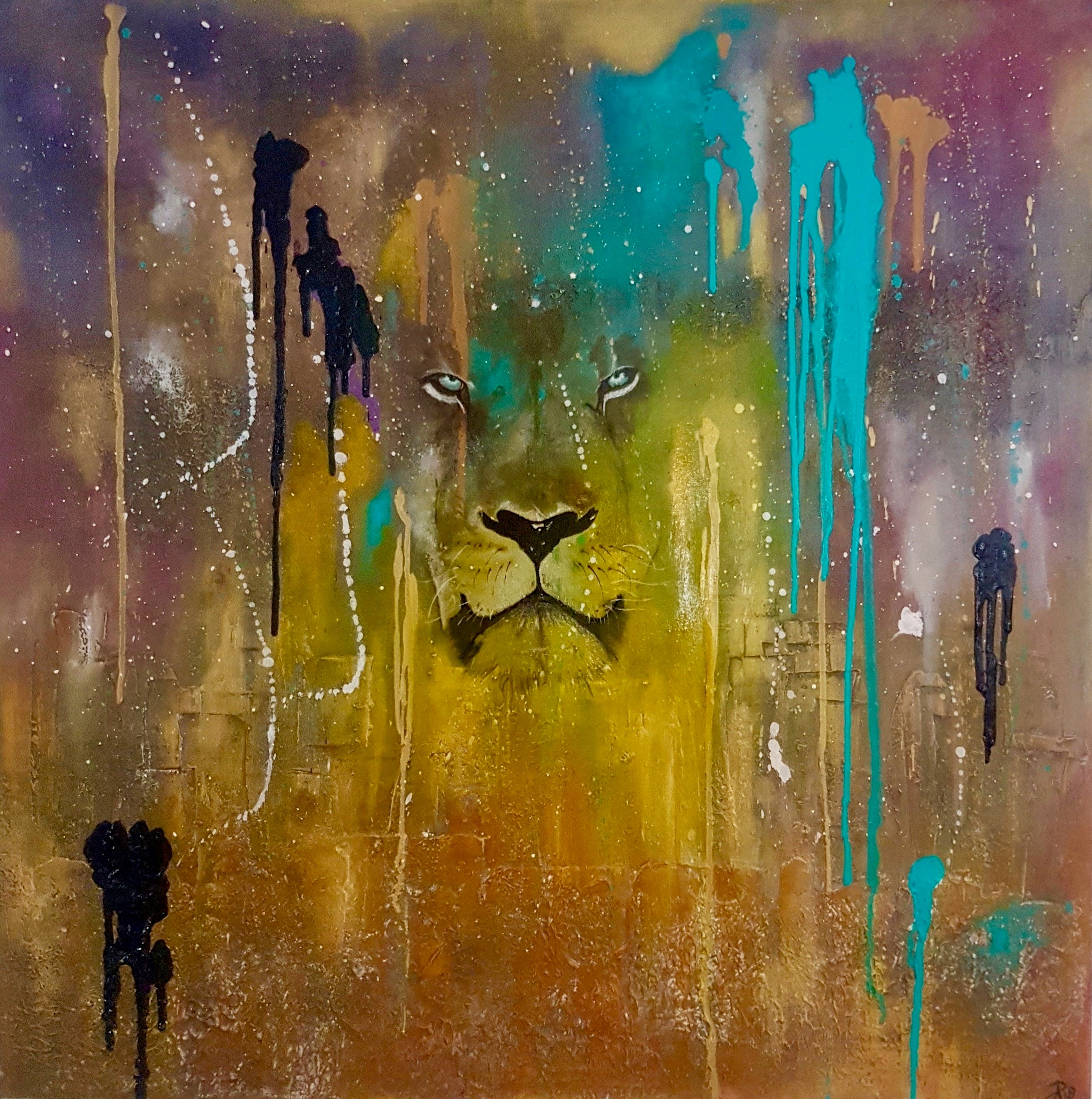 Always Watching Over Us, original Animals Canvas Painting by Art Sauvage