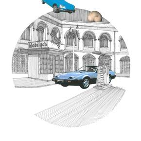 Nissan Fairlady Z, original Architecture Collage Drawing and Illustration by Florisa Novo Rodrigues