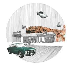 Alfa Romeo GTL 2000, original Architecture Collage Drawing and Illustration by Florisa Novo Rodrigues