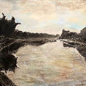 River II, original Abstract Oil Painting by Ričardas Vyšniauskas