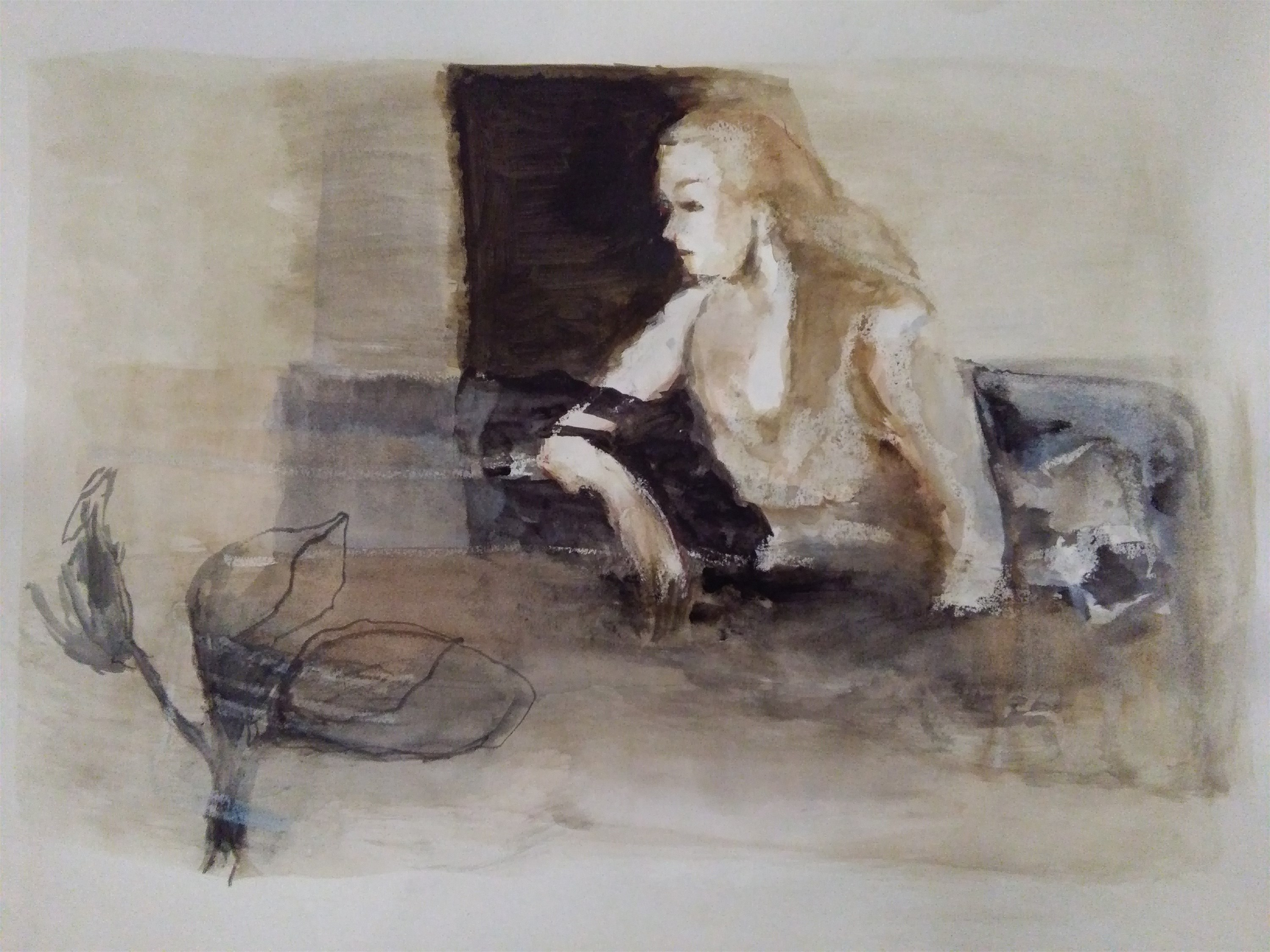 American Life, original Human Figure Watercolor Painting by CARLA GONCALVES