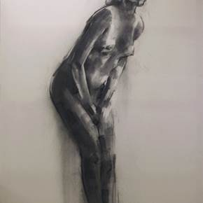 Nude 3, original B&W Canvas Drawing and Illustration by Yorgos Kapsalakis