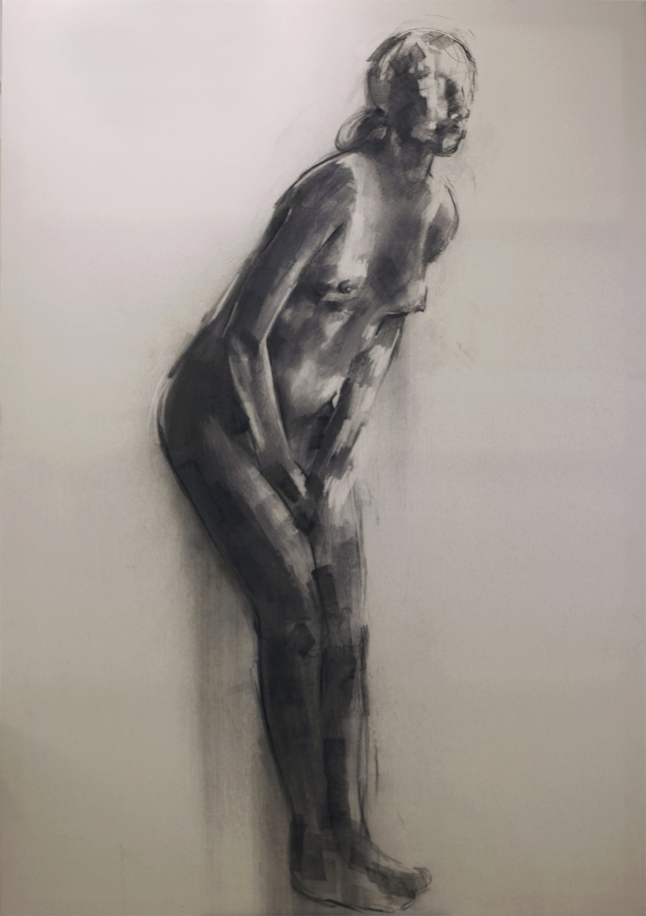 Nude 3, original B&W Canvas Drawing and Illustration by Giorgos Kapsalakis