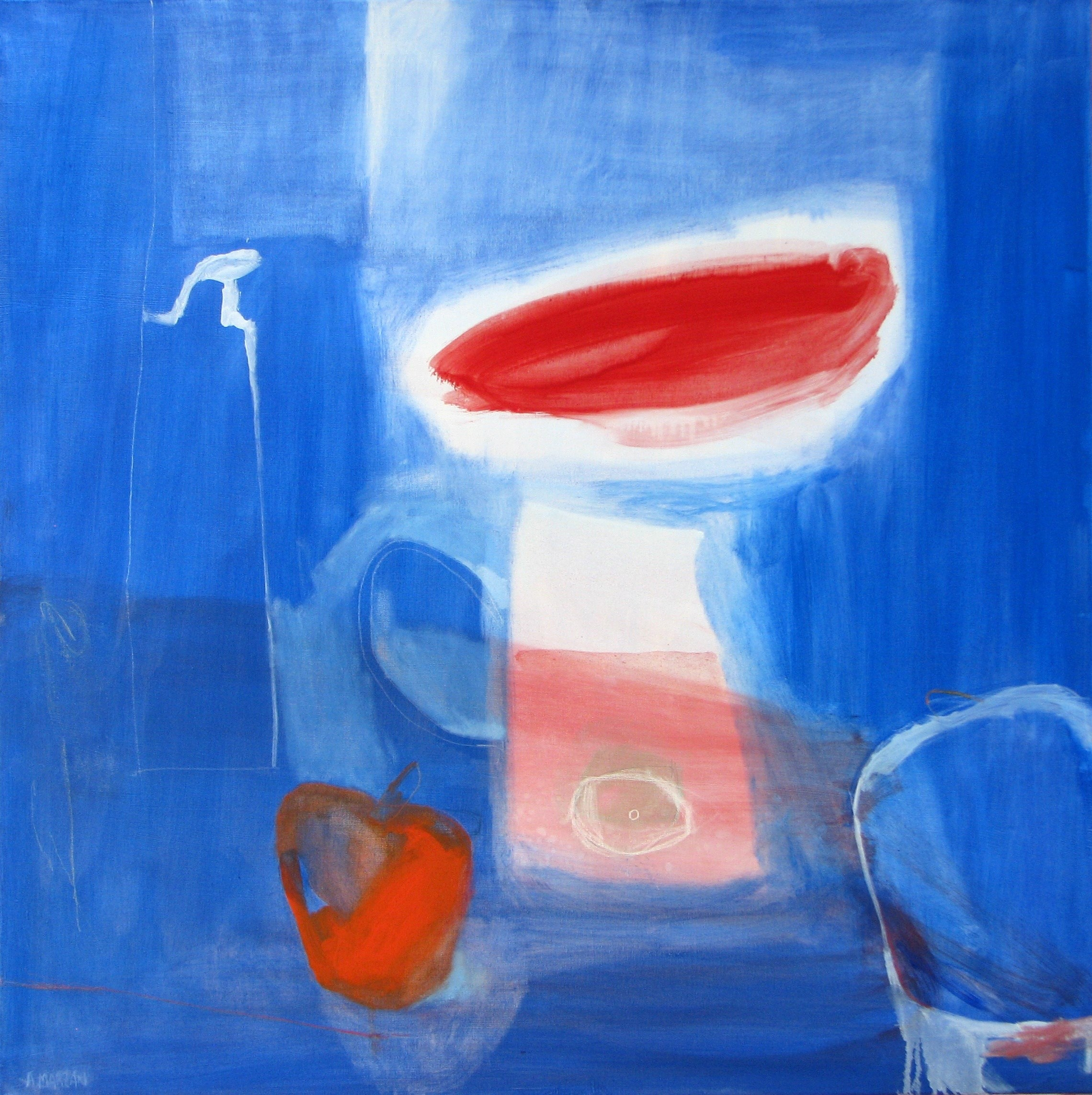 A pesar de los pimientos, original Abstract Oil Painting by Álvaro Marzán