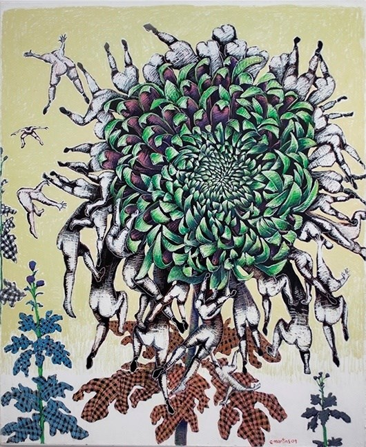 Green Chrysanthemum, original Big Mixed Technique Painting by Clara Martins