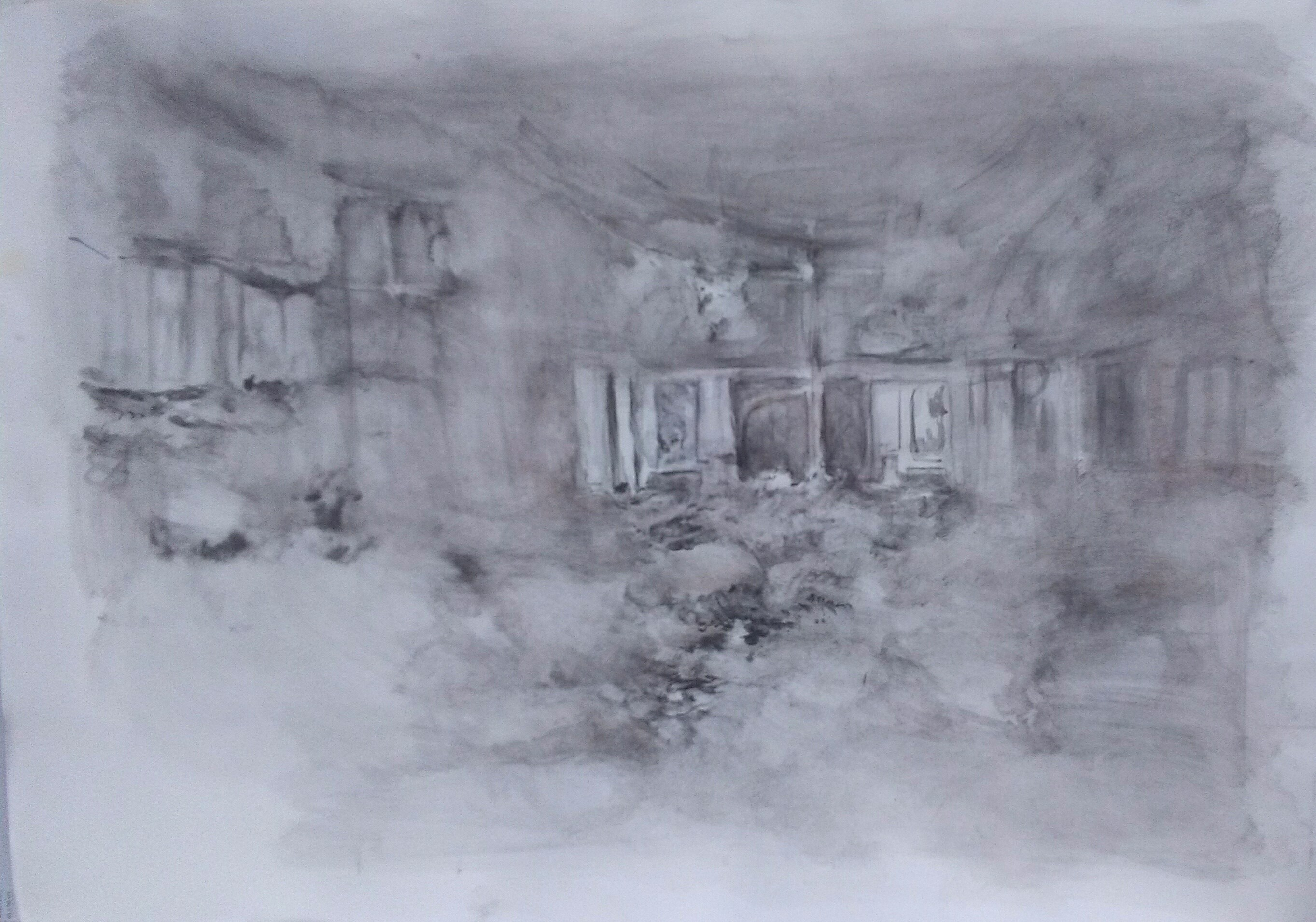 Eternal landscape, original Big Pencil Drawing and Illustration by CARLA GONCALVES